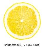 lemon slice isolated on white... | Shutterstock . vector #741684505
