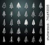 christmas trees hand drawn... | Shutterstock .eps vector #741692035