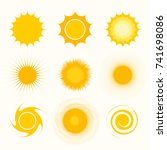 sun icon set  vector... | Shutterstock .eps vector #741698086