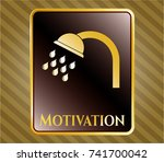 gold shiny badge with shower...   Shutterstock .eps vector #741700042