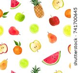 watercolor collection of fruits ... | Shutterstock . vector #741700645