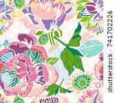 vector bright floral seamless... | Shutterstock .eps vector #741702226