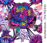 vector bright floral seamless... | Shutterstock .eps vector #741702232