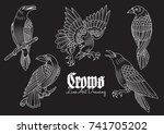 vector crows line art tattoo... | Shutterstock .eps vector #741705202