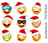 smiley emoticon set. yellow... | Shutterstock .eps vector #741707632