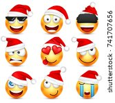 smiley emoticon set. yellow... | Shutterstock .eps vector #741707656
