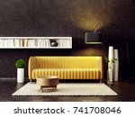 modern living room  with yellow ... | Shutterstock . vector #741708046