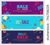 memphis style banner design set ... | Shutterstock .eps vector #741708235