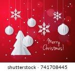 vector template for merry... | Shutterstock .eps vector #741708445