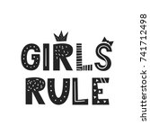 girls rule   unique hand drawn... | Shutterstock .eps vector #741712498
