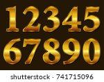 gold numbers set.vector golden... | Shutterstock .eps vector #741715096