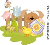 cute easter illustration with... | Shutterstock .eps vector #74172766