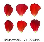 set of naturalistic rose petals.... | Shutterstock .eps vector #741729346