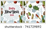 seamless pattern with happy new ... | Shutterstock .eps vector #741729892
