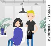 hair salon. barber shop. young...   Shutterstock .eps vector #741730135