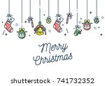 vector linear design christmas... | Shutterstock .eps vector #741732352