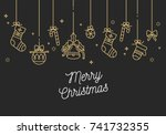 vector linear design christmas... | Shutterstock .eps vector #741732355