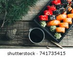 on the table are in the black... | Shutterstock . vector #741735415