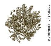 beautiful christmas bouquet...   Shutterstock .eps vector #741736372