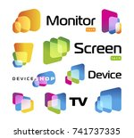 digital smart tv monitor... | Shutterstock .eps vector #741737335