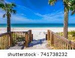 Walkway to Gulf of Mexico beach on Anna Maria Island in Bradenton Beach Florida