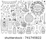doodles christmas elements.... | Shutterstock .eps vector #741745822