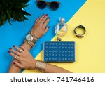 female hands with jewelry.... | Shutterstock . vector #741746416