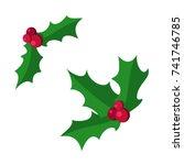 european christmas berry holly... | Shutterstock .eps vector #741746785
