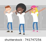 multiracial group of teenagers... | Shutterstock .eps vector #741747256