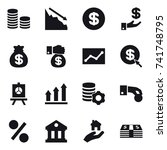 16 vector icon set   coin stack ... | Shutterstock .eps vector #741748795