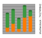 graph with cylindrical columns. ... | Shutterstock . vector #741749842