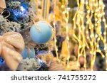 christmas tree with blue balls... | Shutterstock . vector #741755272