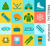winter sports icons set with... | Shutterstock .eps vector #741755866