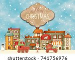 merry christmas greeting card   ... | Shutterstock .eps vector #741756976