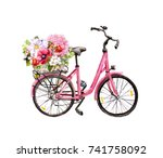 pink bicycle with flowers in... | Shutterstock . vector #741758092