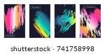 liquid color covers set. fluid... | Shutterstock .eps vector #741758998
