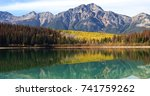 autumn aspens reflected by the... | Shutterstock . vector #741759262