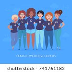 female web developers are... | Shutterstock .eps vector #741761182
