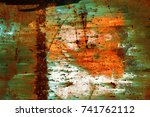 abstract rusty metal texture ... | Shutterstock . vector #741762112