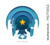 baby jesus born in bethlehem in ... | Shutterstock .eps vector #741772012