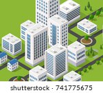 metropolis city quarter with | Shutterstock . vector #741775675