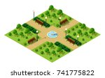 isometric metropolis city park  ... | Shutterstock . vector #741775822