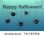 happy halloween card with cute... | Shutterstock .eps vector #741787996