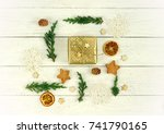 christmas composition frame... | Shutterstock . vector #741790165