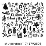 christmas doodles. hand drawn... | Shutterstock .eps vector #741792805