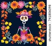 dia de los muertos greeting... | Shutterstock .eps vector #741806098