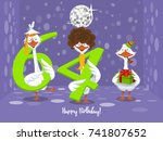 two goose holding the number 64....   Shutterstock .eps vector #741807652