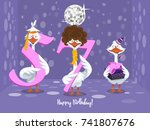 two goose holding the number 57....   Shutterstock .eps vector #741807676
