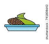 sweet corn on dish cartoon... | Shutterstock .eps vector #741808642