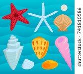 sea shells marine cartoon clam... | Shutterstock .eps vector #741810586